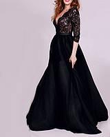 DL-561-1 Черное Бальное Макси Платье Рукавами