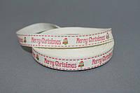 Лента хлопковая 1.5 см Merry Christmas, 25 ярд/уп., оптом
