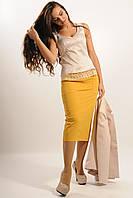 Удобная в носке юбка длины миди со спортивными деталями, с карманами, костюмная ткань, 42-52 размеры