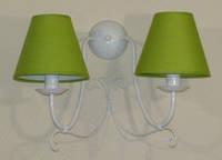 Бра, настенный светильник 2 ламповый с салатовым абажуром