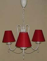 Люстра 3-х ламповая для спальни, детской с красными абажурами