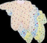 Комбинезон на кнопках (человечек), цветной, закрытая ножка, тонкий, ТМ Алекс, р. 56, 62, 68, 74, 86