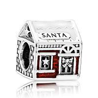 Шарм «Домик Санты» из серебра в стиле Pandora