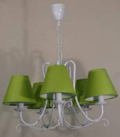 Люстра 5-ти ламповая для зала, спальни, детской с салатовыми абажурами