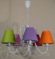 Люстра 5-ти ламповая для  детской с разноцветными абажурами
