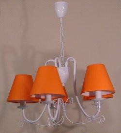 Люстра 5-ти ламповая для зала, спальни, детской с оранжевыми абажурами 13605-6