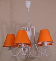Люстра 5-ти ламповая для зала, спальни, детской с оранжевыми абажурами