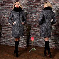 Зимнее пальто из буклированной шерсти М 777201  Темный  серый