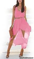 Воздушное шифоновое платье с поясом , цвет розовый
