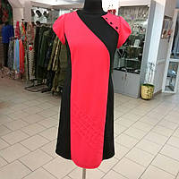 Платье кораловое по колено из джерси 745031