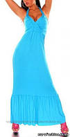 Макси-платье голубого цвета