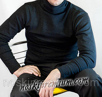 Водолазка чоловіча 100% х/б на байку з начосом Туреччина, розмір 3XL (50-52), чорна