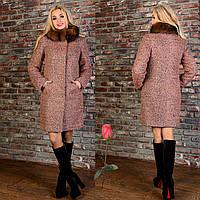 Зимнее пальто из буклированной шерсти М 777201  Капучино