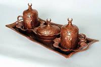 Кофейный набор № 7 металлический турецкий 2 чашки  +1 поднос+1 лукумница