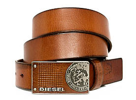 Вінтажний чоловічий шкіряний ремінь під джинси або кежуал брюки зі стильною пряжкою в стилі Diesel