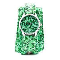 Тканевые наручные часы Салатовые лепесточки
