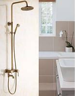 Душевая система стойка бронза со смесителем краном верхним душем и лейкой