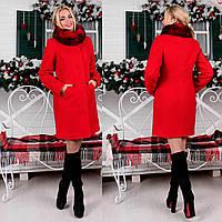 Зимнее пальто из буклированной шерсти М 777201  Красный