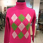 Свитер женский малиновый шерстяной ромбы., фото 4