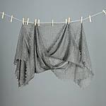 Оренбургский пуховый  платок 140х140 см. Белый и Серый., фото 2