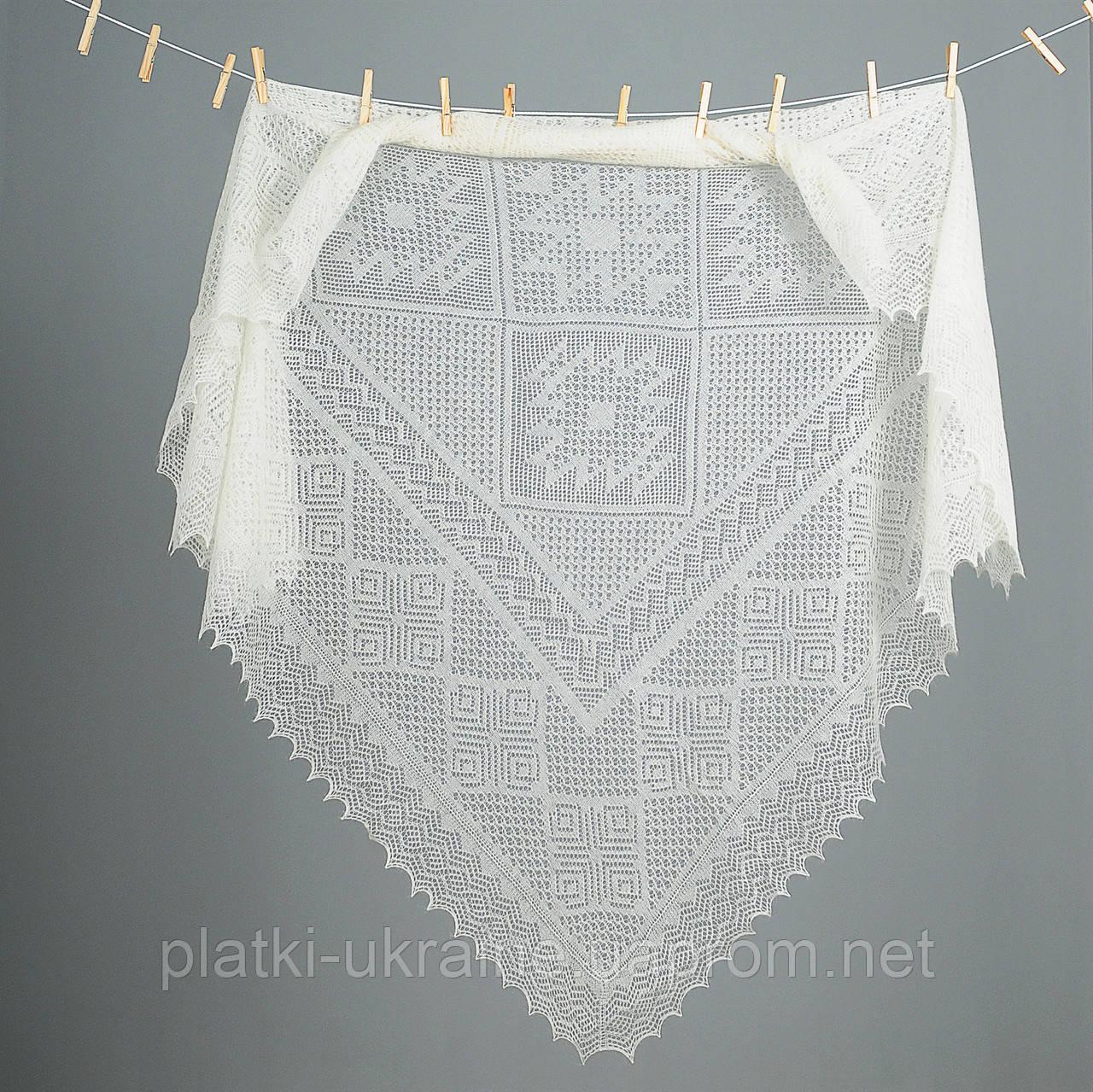 Оренбургский пуховый  платок 140х140 см. Белый и Серый.