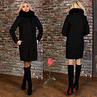 Женское утепленное пальто   с песцовым воротником - М 778342  Черный