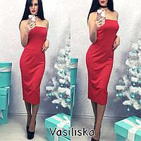 Платье миди без бретелей с молнией на спине 3 цвета SMV911