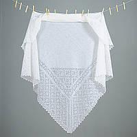 Оренбургский пуховый платок  размер 130х130см. Белый и Серый.