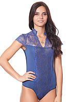 Красивое нарядное кружевное гипюровое женское  боди комбидресс синего цвета