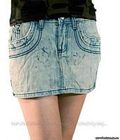 Юбка мини, джинсовая, с эффектом потертостей, сток Silvian Heach