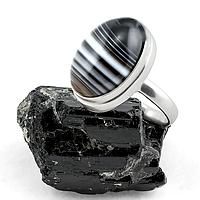 Оникс, серебро 925, кольцо, 160КО