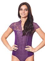 Красивое нарядное кружевное гипюровое женское  боди комбидресс фиолетового цвета