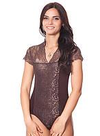 Красивое нарядное кружевное гипюровое женское  боди комбидресс шоколадного цвета