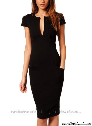 53d63c37d3a2 Элегантное черное платье-футляр, с треугольным вырезом декольте, и  накладными карманами - Интернет