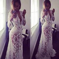 Кружевное платье прозрачное в пол