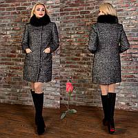 Женское пальто из шерсти букле с песцовым воротником  М  777785  Темный  серый