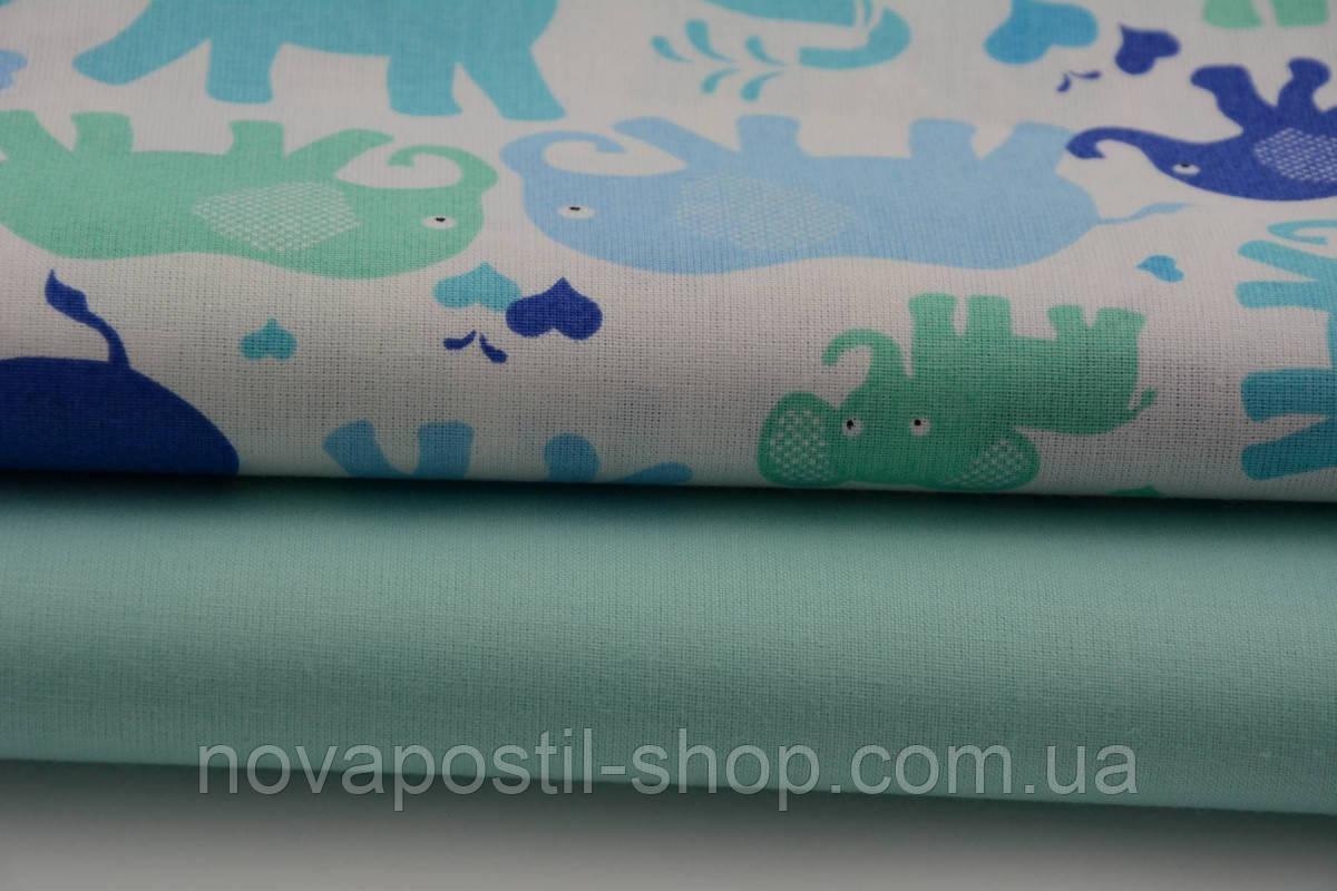 Детское постельное белье Слоники Цветные 3 (100% хлопок)