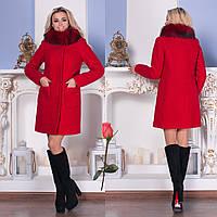 Женское пальто из шерсти букле с песцовым воротником  М  777785  Красный