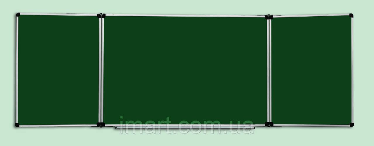 Доска комбинированная для мела и маркера 400x100 см ABC Office в алюминиевой рамке, трехсекционная