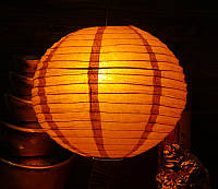 Фонарь бумажный шар коричневый