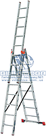 Лестница трехсекционная алюминиевая профессиональная KRAUSE Tribilo 3x8 ступеней (121301)
