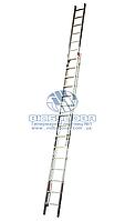 Лестница двухсекционная алюминиевая бытовая с тросом KRAUSE Robilo 2x20 ступеней (800701)
