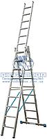 Лестница трехсекционная алюминиевая промышленная KRAUSE Stabilo 3x10 ступеней (123343)