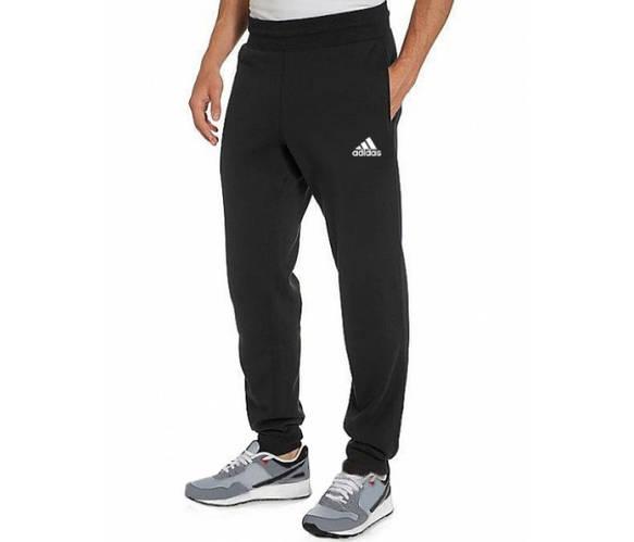 Спортивные штаны с логотипом Адидас (Adidas) мужские трикотажные черные на резинке внизу(манжет)Украина