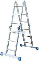 Лестница четырехсекционная алюминиевая промышленная KRAUSE Stabilo 4x3 ступени (123510)