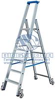 Стремянка алюминиевая складская передвижная KRAUSE Stabilo 5 ступеней (124623)