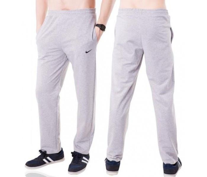 Спортивные штаны с логотипом в стиле Найк (Nike) мужские трикотажные светло серые прямые Украина