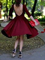 HS-151016-1 Кокетливое Миди Платье бордовое на выпускной