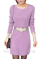 Вязанный свитер - туника нежно- сиреневого цвета