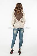 Кофта свитер комбинированная спинка  р.44-46 цвет бежевый 19-1